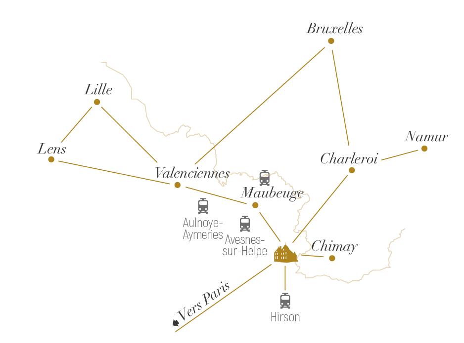 Plan de situation du château de Trélon